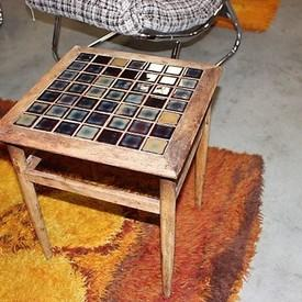 Square Distressed 49 Mosiac Tile Top Occ / Lamp Table