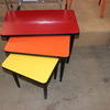 34 X 34 Cm Yellow Formica Top Black Tubular Leg Nest Table