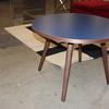 76 Cm Circ Navy Blue Top, Walnut 4 Leg Sputnik Side Table