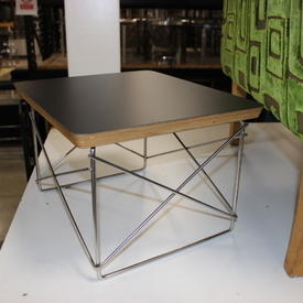 40Cmx34Cm Black Top Polished Stainless Steel Base Charles Eames Side Table