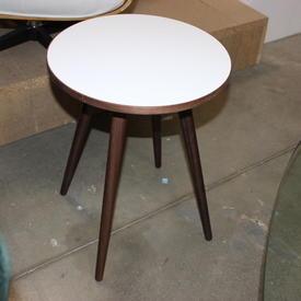 41 Cm Circ White Top, Walnut 4 Leg Sputnik Side Table
