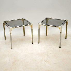 36Cm Sq Chrome Frame Tinted Glass Side Tables
