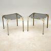 36 Cm Sq Chrome Frame Tinted Glass Side Tables