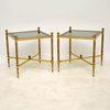 Square French Brass Glass Top Cross Base Side Tables