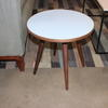 41 Cm Circ Pale Blue Top, Walnut 4 Leg Sputnik Side Table