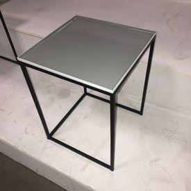 36Cm Square Grey Enamel Top, Metal Frame Nest Table (Nest Of 3)