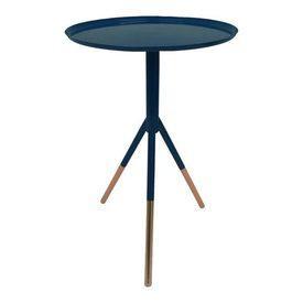 37 Cm Circ Navy Enamel W/ Copper Feet 'bod' Tripod Side Table