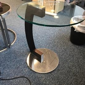 Wenge & Glass 'Zen' Mpf Curved Stem Side Table(58Cm H X45Cm)