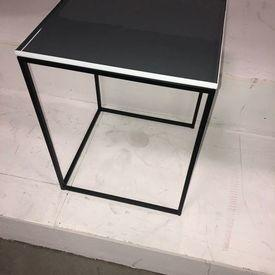 41Cm Square Dark Grey Enamel Top, Metal Frame Nest Table (Nest Of 3)