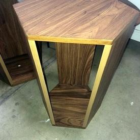 Hexagonal Walnut Veneer Side Table