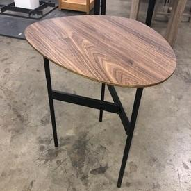 50Cm X 43Cm Walnut Veneer Shaped Top on Black Metal Tri Leg Base Tall Side Table