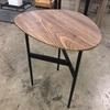 50 Cm X 43 Cm Walnut Veneer Shaped Top On Black Metal Tri Leg Base Tall Side Table