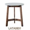 50 Cm Circ Marble Top On Walnut Tri Leg Frame Side Table