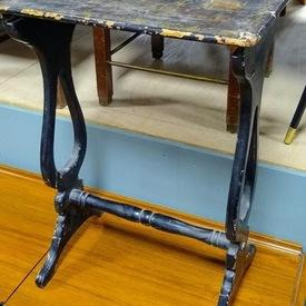 Distressed Black Lacq & Gold Oriental Scene Harp Side Occ Table