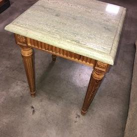 Square Green Marble Top, Reeded Wood Leg Side Table