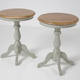50Cm Circ Oak Top, French Grey Pedestal Base Wine Table