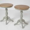50 Cm Circ Oak Top, French Grey Pedestal Base Wine Table