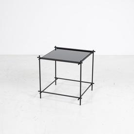 48Cm X 50Cm Black Mirror Top Black Metal Frame Side Table