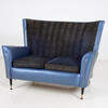 50's Dark Blue Vinyl Wing Settee