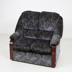 80's Grey/Blue/Black Pattern Wood Trim 'wtd' 2 Seat Settee