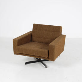 60S Brown Fabric Dh5 Armchair