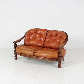 Valenti Repro Rust Leather 2 Seat Settee