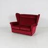 50's Red Fabric Wilson 2 Seat Wing Back Settee