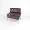 Tubular Chrome Frame Brown Leather Vintage 2 Seat Sofa