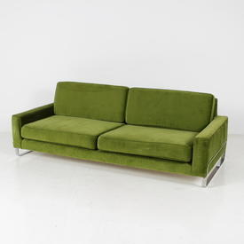 80's Large Green Velour Fabric Teys Settee