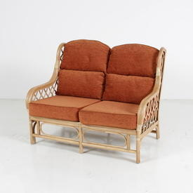 Bamboo 2/Settee W/Cross Wicker Sides & Orange Colour Cushion