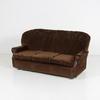 70's Brown Self Pattern Fabric & Dk/Wood Panel Settee