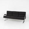 Black Fabric Chrome Feet 3 Seater Pieffe Settee 80's
