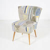 Yellow & Blue Patterned/Oak Leg Cocktail Chair