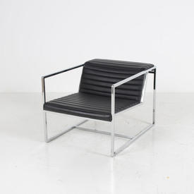 Chrome & Ribbed Black Leather Atlanta Armchair Alivar
