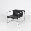 Chrome & Ribbed Black Leather 'atlanta' Armchair