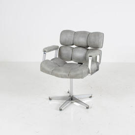 Grey Leatherette/Chrome Frame 60's Swivel Easy Chair