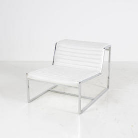 Chrome & Ribbed White Leather Atlanta Chair without Arms