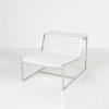 Chrome & Ribbed White Leather 'atlanta' Chair Without Arms