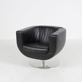 Curved Black Leather Tulip Chair on Swivel Disc Base