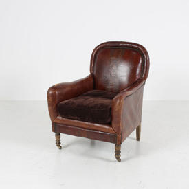 Brown Leather Easy Chair/Studded Mock Croc Back Armchair on Brass Castors