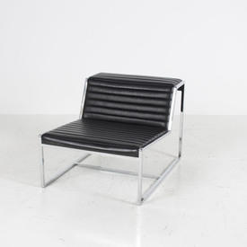 Chrome & Ribbed Black Leather Atlanta Chair without Arms