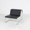 Chrome & Ribbed Black Leather 'atlanta' Chair Without Arms