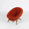 Danish Orange Ruffled Crushed Velvet Tub Chair