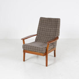 Teak & Oatmeal Fabric Open Armchair  (50S)