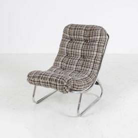 70's Brown & Oatmeal Checked C/P Frame Seat Unit