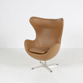 Tan Leather Jacobson Style Egg Wing Chair