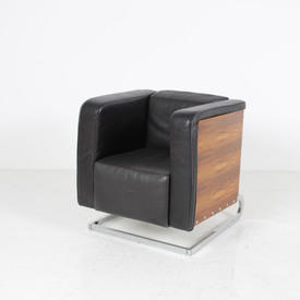 Rosewood & Black Leather Box Armchair on Curved Chrome Base