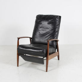 Rosewood & Black Leather High Back Reclining Open Arm Easy Chair