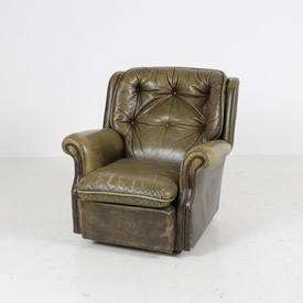 70'S Pale Green Leather Buttoned Back Worn Armchair