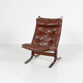 70'S Tan Leather Buttoned Occ Lounge Chair on Wooden Base
